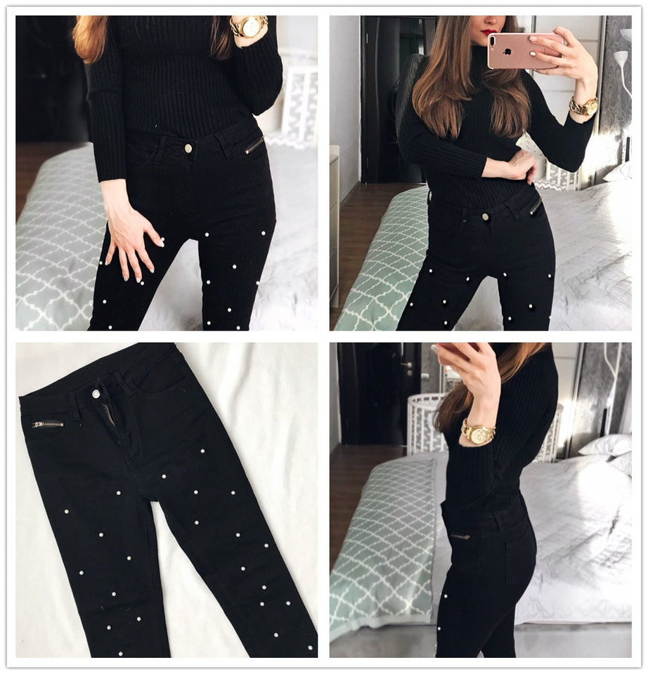 Women Jeans Pants Pearl Beaded Front Jeans