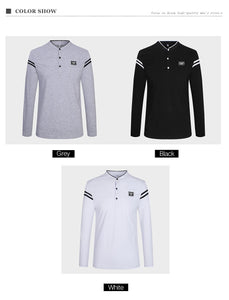 Men Mandarin Collar Casual T-Shirts