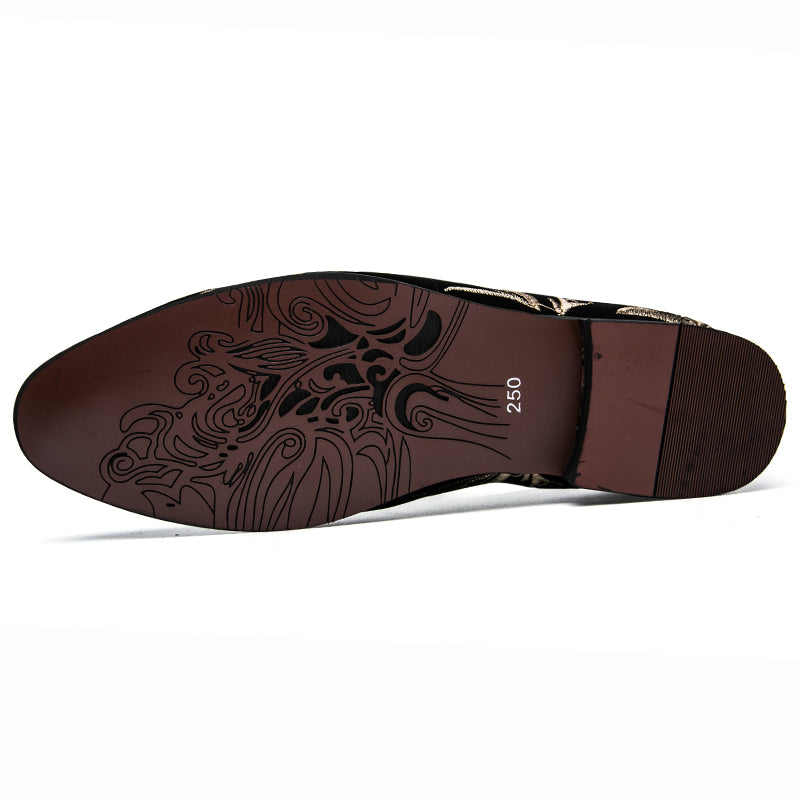 flowers print leather shoes men