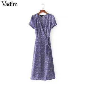 Vintage V neck floral pattern midi wrap dress