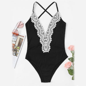 Contrast Crochet Lace Cross Back Bodysuit