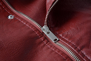 Women Winter Wine Red Faux Leather Jackets