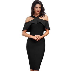 Ruffles Dress Patchwork Off Shoulder Dress - Narvay.com