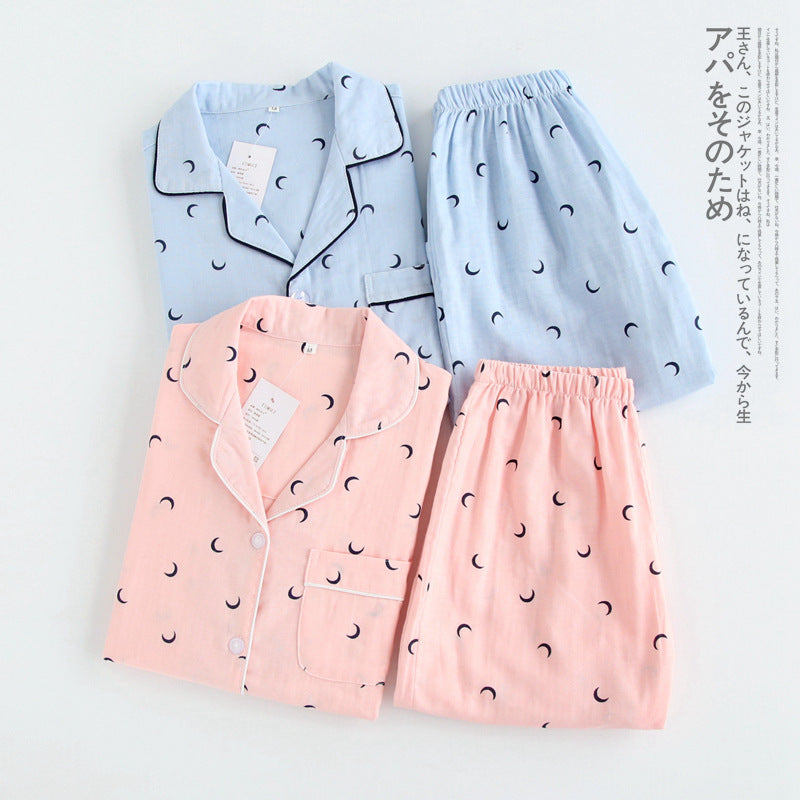 Couples simple moon blue pajamas sets