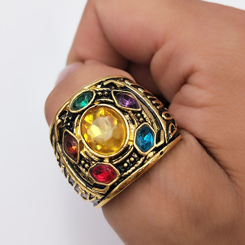 Avengers Infinity War Thanos Infinity Gauntlet Power Cosplay Alloy Ring Jewelry
