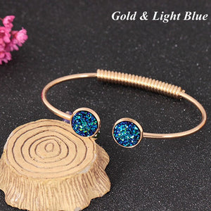 Summer Women's Fashion Opal Metal Cuff Bangles - Narvay.com
