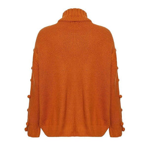 Turtleneck sweater women pullover Hollow out