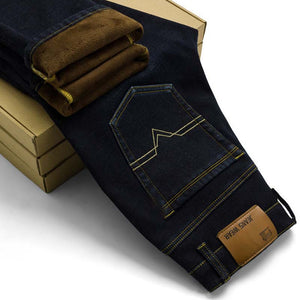 flocking warm soft men jeans