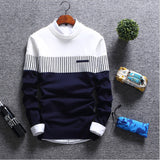 Stitching Male Knitwear warm Korean Slim