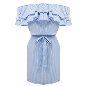 Ruffles Neck Strapless Dress