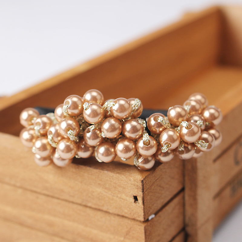 Pearls Beads Headbands Ponytail Holder