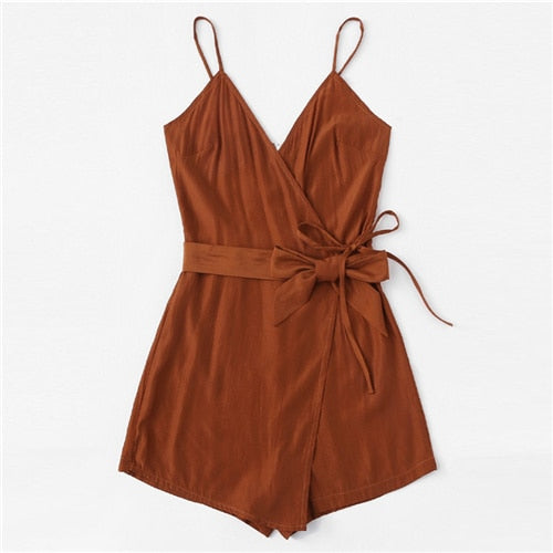 Tie Waist Cami Belted Wrap Knot Brown Romper