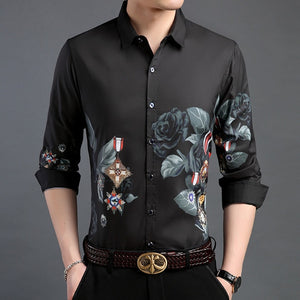 Shirt Men Floral Slim Fit