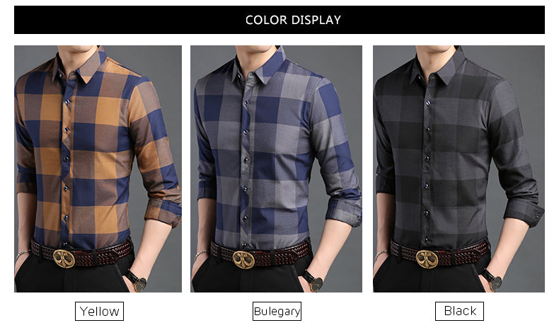 Man Plaid Slim Fit Street Wear Shirts