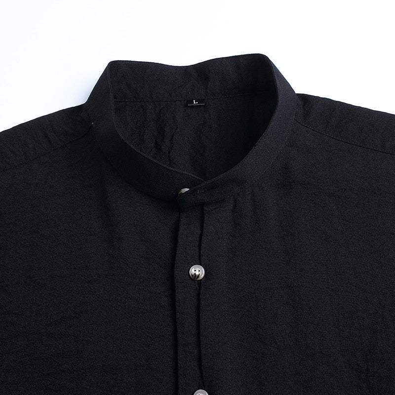 Mens Black Mandarin Collar Casual Shirt