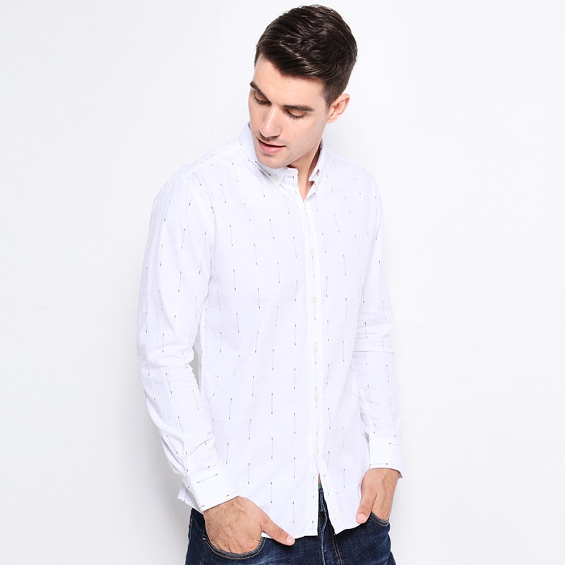Men Shirts Long Sleeve New Trend Slim Fit Shirt