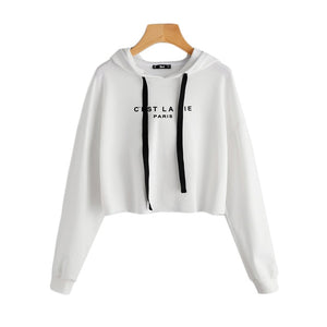 Drop Shoulder Crop Hoodie Women's