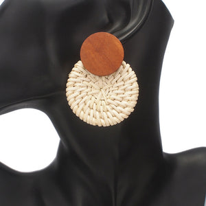 Wood Straw Round Earrings For Women