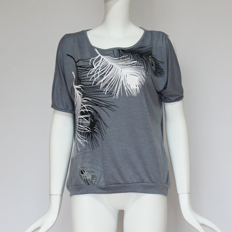 Sexy Off Shoulder Feather Print T-Shirt - Narvay.com