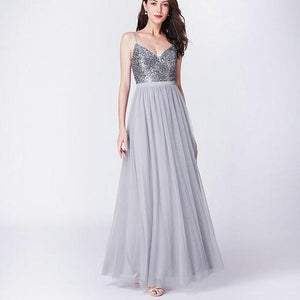 V Neck Tulle Wedding Party Gowns Sequins