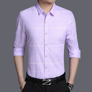 Men's Korean Striped Long Sleeve Slim Fit