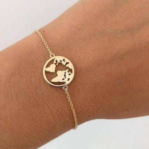 Chain Link World Map Bracelets & Bangles Jewelry