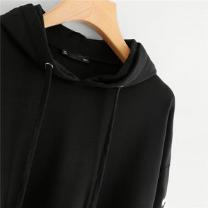 Women Crop Hoodies Sweatshirts Drawstring