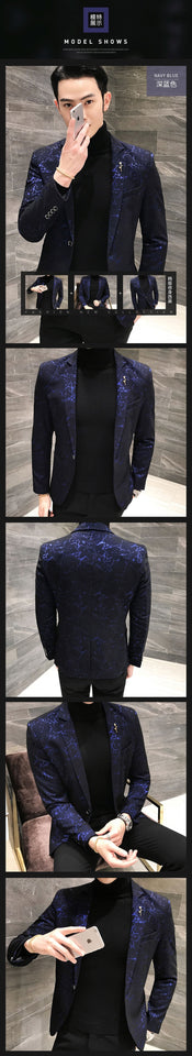 Mens Printed Business Casual Blazer
