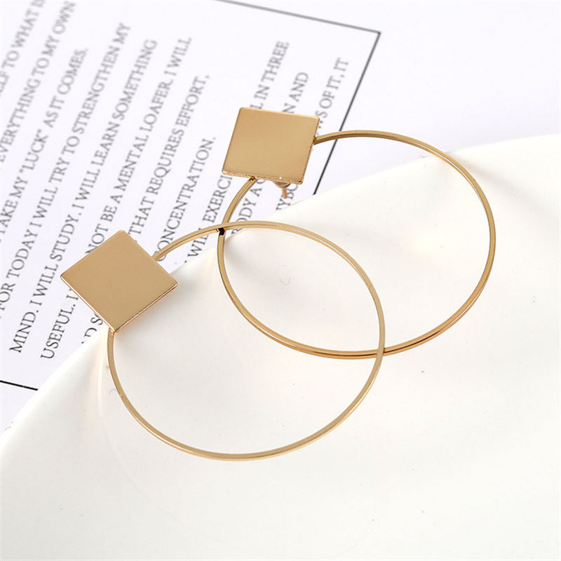 Women Square Round Geometric Hanging Earrings