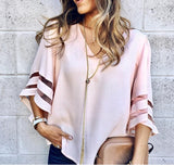 Flared Sleeves Mesh Patchwork Shirts Summer