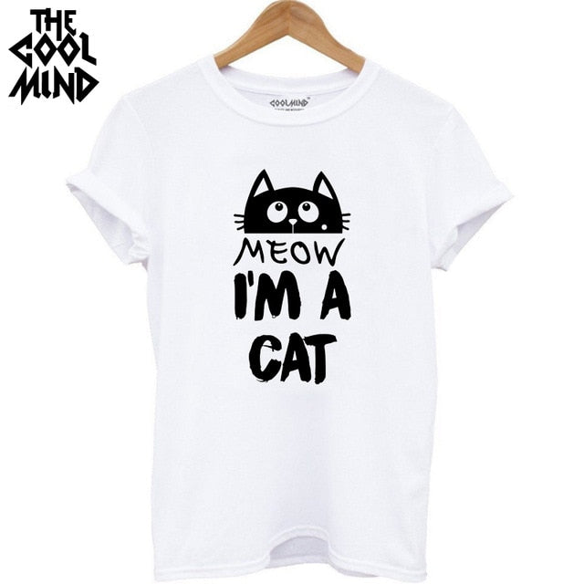 Cat print women T shirt casual short sleeve Tshirt