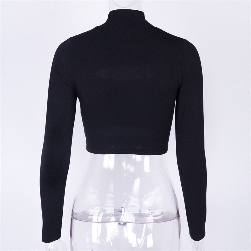 High neck hollow out split sexy bodycon crop tops
