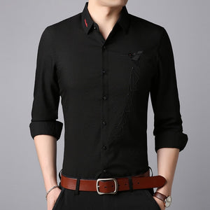 Men Japanese Button Down Long Sleeve Shirt