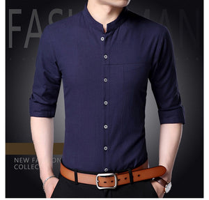 Mens Korean Mandarin Collar Shirts