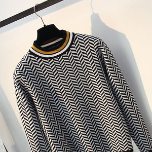 High Striped Autumn Winter Women Sweater
