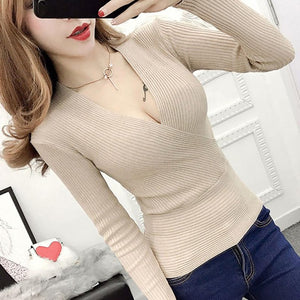 Sexy Winter Knitted Sweater V Neck