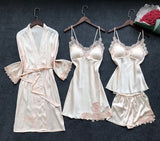 Satin Sleepwear Female with Chest Pads