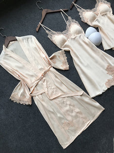 Satin Sleepwear Female with Chest Pads - Narvay.com