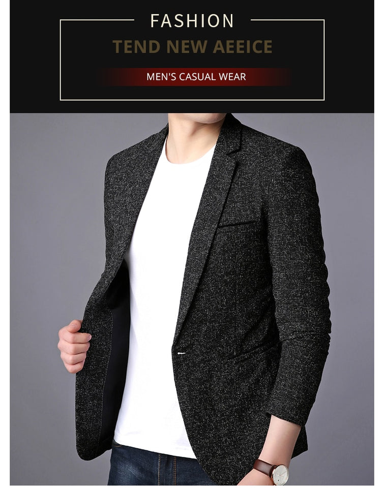 Blazer Jacket Men Single Button Casual