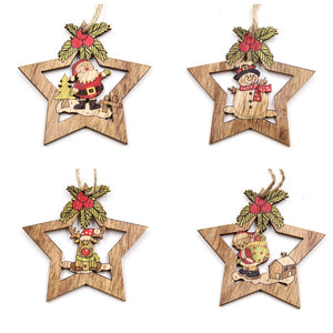 Christmas Star Wooden Pendants