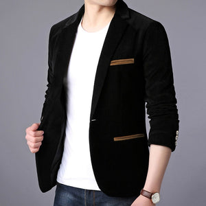 Blazer Jacket Men Korean Velvet Casual Men