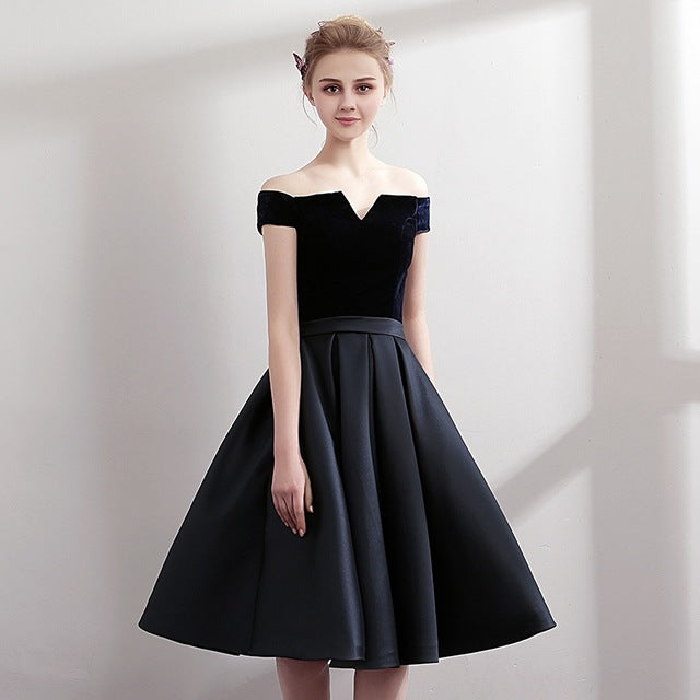 Boat Neck Satin Little Black Dress Elegant Short