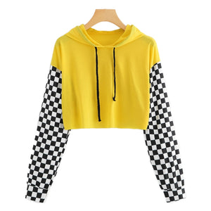 Gingham Panel Hoodie Shirt Women - Narvay.com