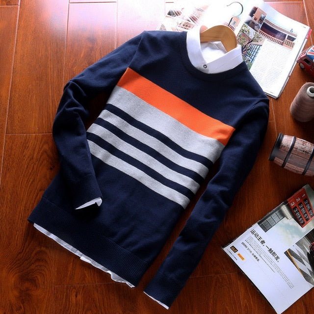 Autumn Fashion Casual Striped Cotton Sweater Men