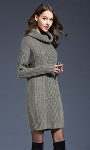 Winter Sweater Women Dress New Solid Turtleneck