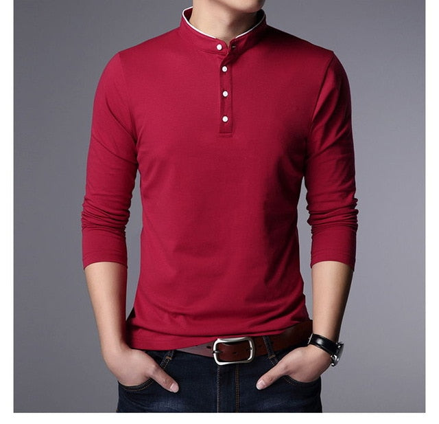 Polo Shirt Mens  Mandarin Collar