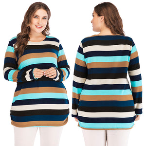 Spring Korean Striped Sweaters Plus Size