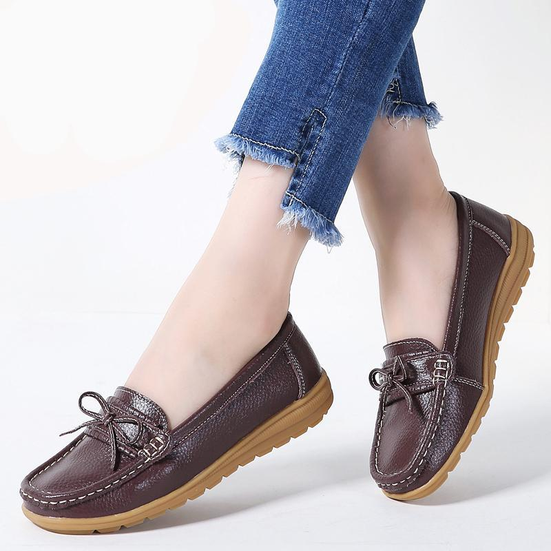 ballet flats casual shoes round toe loafers - Narvay.com