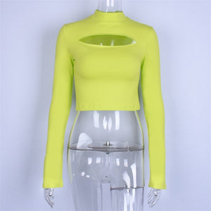 Long flare sleeve hollow out split high neck crop tops