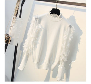 Ruffled Collar Knitted Women Sweater Spring